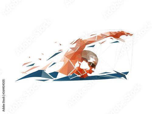 Fotografia Swimming, swimmer low poly logo, isolated geometric vector illustration, crawl