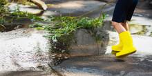 Summer Rain. Puddle On Asphalt. Kid In Yellow Rain Boots. Child Runs Through Puddle. Cold Autumn Rain. Wet Weather. Water Splash. Reflection In Water