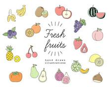 手書きのフルーツのイラスト素材のセット/果物/おしゃれ/かわいい