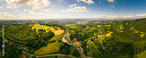 Foto Aerial panorama of of green hills and vineyards with mountains in background
