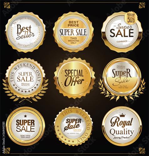 Fototapety, obrazy: Retro vintage golden badges labels and shields