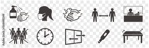 Photo illustration of icons of coronavirus vector