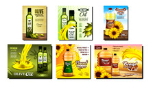 Olive And Sunflower Oil Promo Posters Set Vector. Collection Of Different Advertising Marketing Banners With Oil Blank Bottles And Splash, Flowers And Tree Branch. Color Concept Template Illustrations