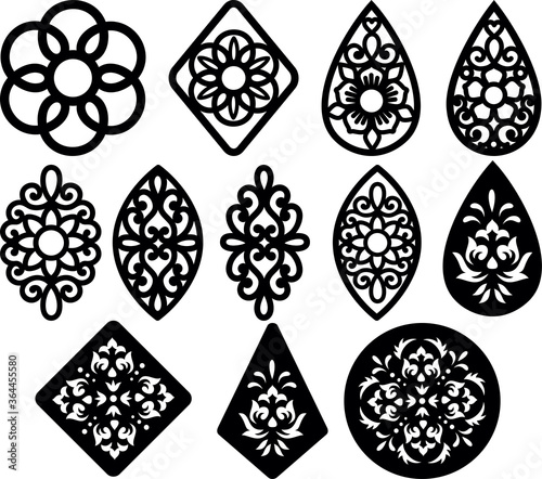 Slika na platnu Mandala Earring SVG, Earrings Template for Cutting