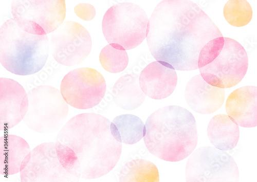 水彩テクスチャの水玉背景 ピンク Wallpaper Mural
