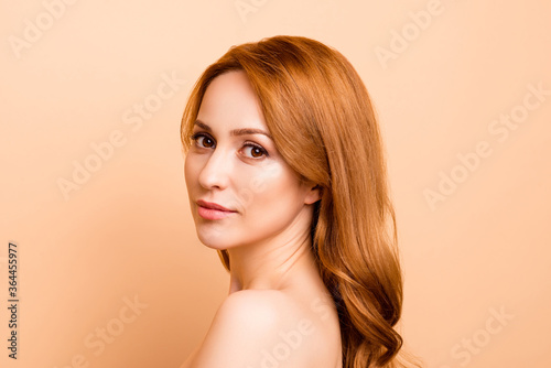 Fototapety, obrazy: Profile side view close-up portrait of her she nice-looking attractive nude naked pure shine confident wavy-haired lady facial vitamin organic smooth clean clear isolated over beige background