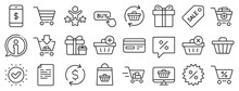 Gift Box, Present Coupon And Sale Offer Tag Signs. Shopping Line Icons. Shopping Cart, Surprise Gift And Delivery Symbols. Speech Bubble, Discount Tag Coupon , Credit Card. Online Sale. Vector