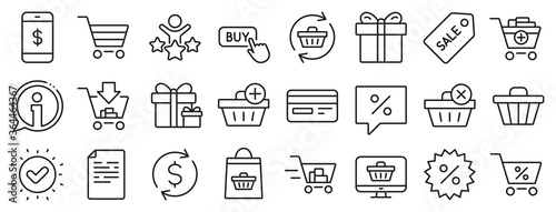 Fototapeta Gift box, Present coupon and Sale offer tag signs. Shopping line icons. Shopping cart, surprise gift and Delivery symbols. Speech bubble, Discount tag coupon , Credit card. Online sale. Vector obraz