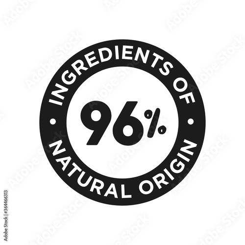 Fototapeta 96% ingredients of natural origin icon