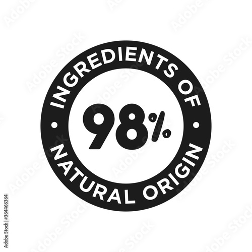 Fotografie, Obraz 98% ingredients of natural origin icon