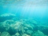 Fototapeta Kawa jest smaczna - Green rocks underwater in Alghero shore