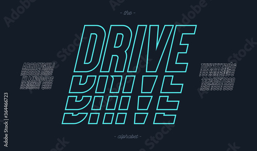 Vector drive font italic style modern typography for decoration, logo, poster, t shirt, book, card, sale banner, printing on fabric, industrial Fototapete