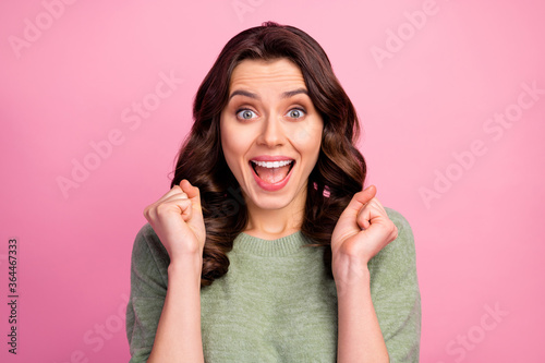 Fotografie, Obraz Portrait of astonished energetic girl look incredible sales discount novelty cel