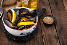 Mussels On Wood Food Background
