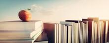 Apple On Stack Of Books. Educa...
