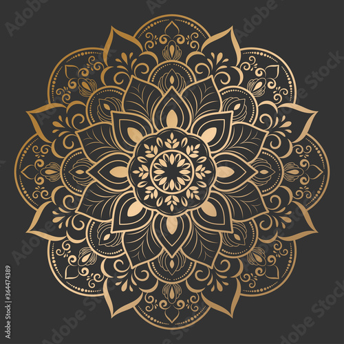 luxury round mandala design with gold color, Vector mandala floral patterns with black background, Hand drawn decorative element Wallpaper Mural
