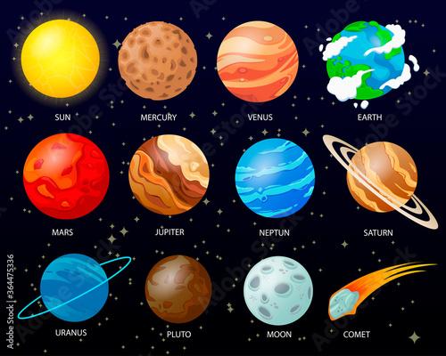 Obraz Cartoon solar system planets - fototapety do salonu