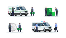 Bank Security Work Semi Flat RGB Color Vector Illustration Set. Guards In Bulletproof Vests. Police Officers For Money Protection Isolated Cartoon Character On White Background Collection