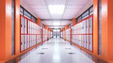 School Corridor Interior. 3d I...
