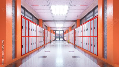 Fototapeta School corridor interior. 3d illustration obraz