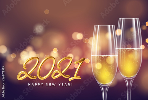 Fototapeta 2021 Golden lettering New Year background with a bottle and glasses of champagne and glowing bokeh light. Vector illustration obraz