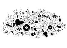Sfondo, Icone, Simboli, Strumenti Musicali, Musica, Concerto,