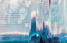 Holographic Background. Glitch Error. Pastel Pink Blue Color Gradient Noise On Scratched Screen.