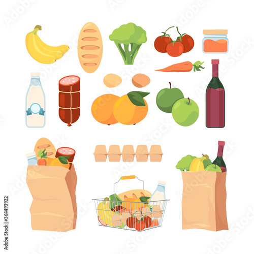 Fototapeta Product bags. Shopping carts with different grocery food healthy fruits milk eat bread ingredients for cuisine vector pack collection. Bread and fruit, milk and apple, tomato vegetable illustration obraz