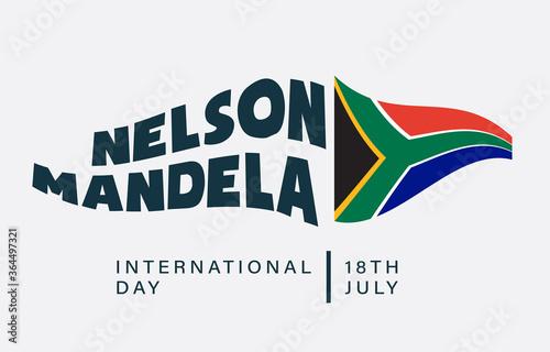 Valokuva International Nelson Mandela Day, 18th July, flag effect, illustration vector