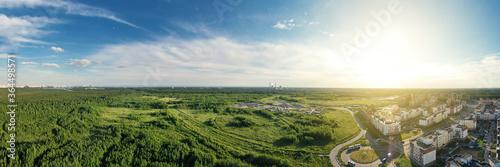 Obraz Summer forest and green field near city. Panorama - fototapety do salonu