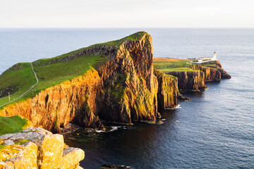 Neist point lighthouse on the Isle of Skye, Scotland, United Kingdom