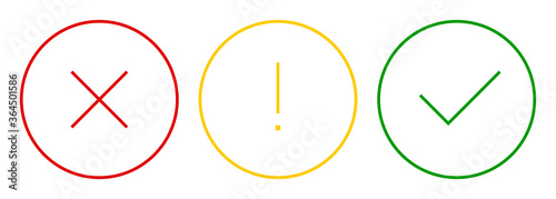 Set of round check mark, exclamation point, X mark thin line icons, buttons isolated on a white background Canvas Print