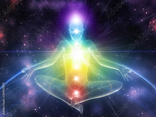 3d human in yoga pose with chakras Fototapete