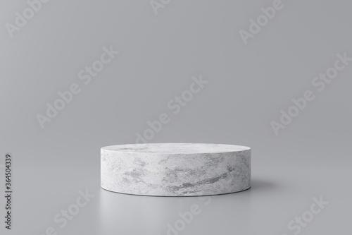 Obraz White marble product display on gray background with modern backdrops studio. Empty pedestal or podium platform. 3D Rendering. - fototapety do salonu