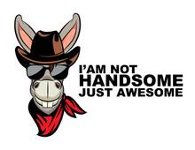 Cartoon Funny Cowboy Donkey Ma...