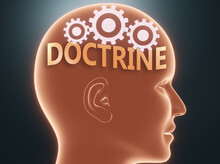 Doctrine Inside Human Mind - Pictured As Word Doctrine Inside A Head With Cogwheels To Symbolize That Doctrine Is What People May Think About And That It Affects Their Behavior, 3d Illustration