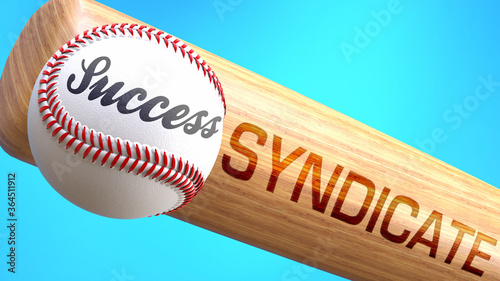 Success in life depends on syndicate - pictured as word syndicate on a bat, to show that syndicate is crucial for successful business or life Canvas Print