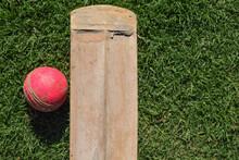 Crickey Bat And Ball Isolated.