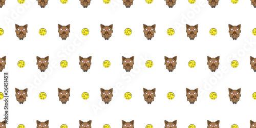 Fototapeta Halloween seamless pattern, Cute Werewolves on white background, Cute ghost icons