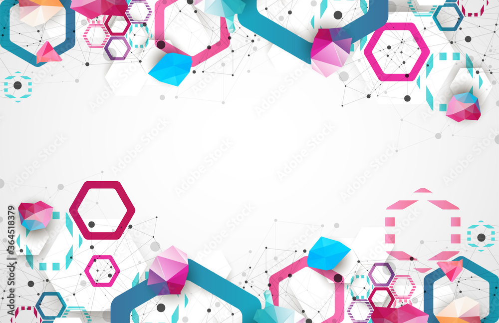 Fototapeta Hexagonal geometric array. Abstract background. Science and connection vector concept.