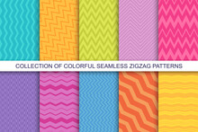 Collection Of Vector Striped Seamless Patterns. Textile Zigzag Texture. Bright Colorful Backgrounds
