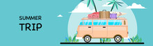 Summer Vacation Surf Bus Sunset Tropical Beach. Travel And People Concept In Minivan Car On Beach.template Poster Flat Vector Illustration