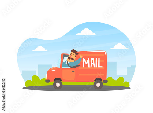 Deliveryman Delivering Parcels and Letters at Post Office Cargo Vehicle Vector I Fototapete