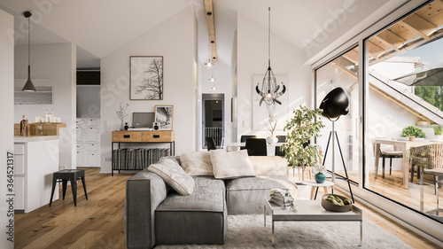 Fototapeta view inside modern luxury attic loft apartment - 3d rendering obraz