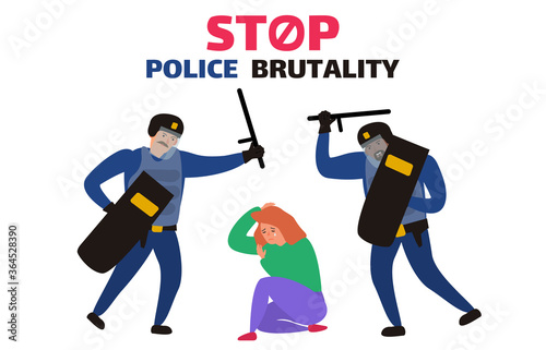 Valokuva stop police brutality two policemen in uinform attack a sitting crying woman vec