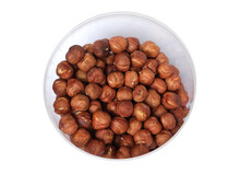 Fried Hazelnuts In A Bucket On A White Background