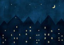 海外の街の夜景水彩