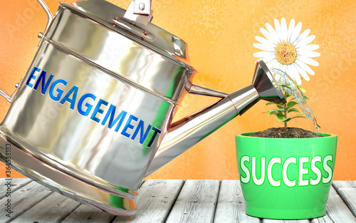 Carta da parati Engagement helps achieving success - pictured as word Engagement on a watering c