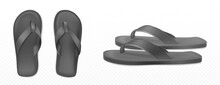Black Summer Slippers For Beach Or Pool Top Side View Isolated Transparent Background. Vector Realistic Blank Flip Flops Mockup, Plastic Sandals With Thong, Rubber Shoes For Household Or Sea Vacation