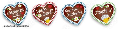 Fototapeta four gingerbread hearts Oktoberfest 2020 2021 obraz